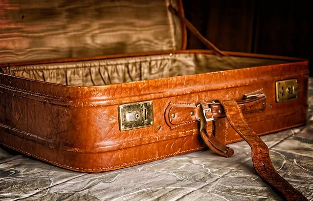otevřený kufr na dovču